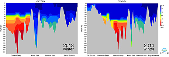 Fig 3. Oxygen profiles from the Gotland Deep to the Bay of Bothnia 2013 and from Skagerrak to the the Bay of Bothnia 2014.