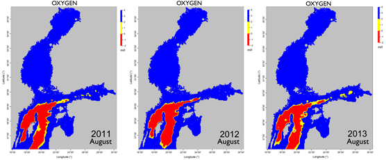 Oxygen levels close to the sea floor in the Baltic Sea in August 2011–2013