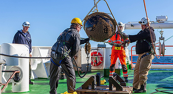 A wave buoy is lifted on board of the Aranda for maintenance. Photo Ilkka Lastumäki
