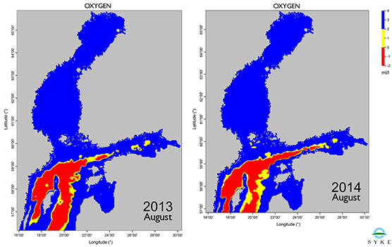 Oxygen levels close to the sea floor in the Baltic Sea in August 2013 and 2014