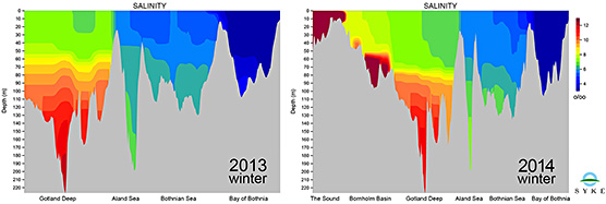 Fig 4. Salinity profile from central Baltic Proper to Bay of Bothnia 2013 and from The Sound to Bay of Bothnia 2014.