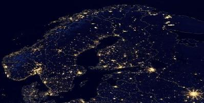 NASA light pollution map North Europe