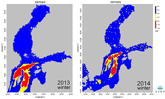 Fig 2. Deep water oxygen condition in winters 2013 and 2014.
