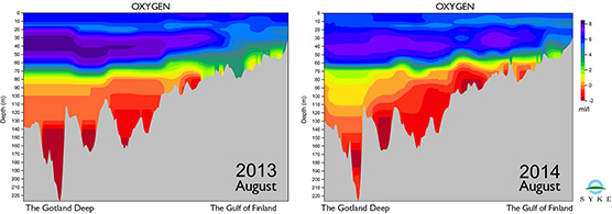 Oxygen levels from Gotland to the Gulf of Finland in August 2013-2014.